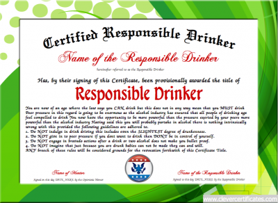 Responsible drinker award free certificate templates you can add responsible drinker award free certificate templates you can add text yelopaper Image collections