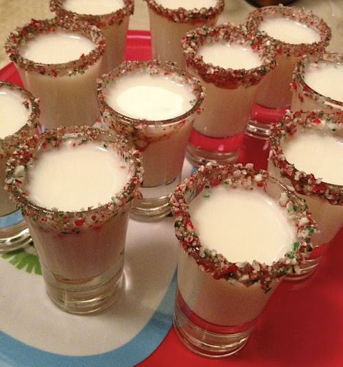 Candy Cane Shots:      Godiva White Chocolate Liquor      Peppermint Schnapps      Crushed Candy Canes    Instructions:  Wet the rim of a shot glass and dip into crushed candy canes. Mix equal parts Godiva