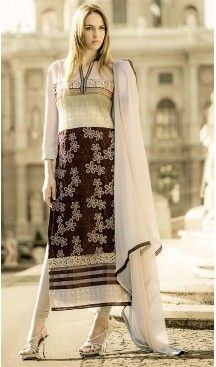 3bdea5810c6 Pakistani Style Chocolate Color Georgette Churidar Dresses ...