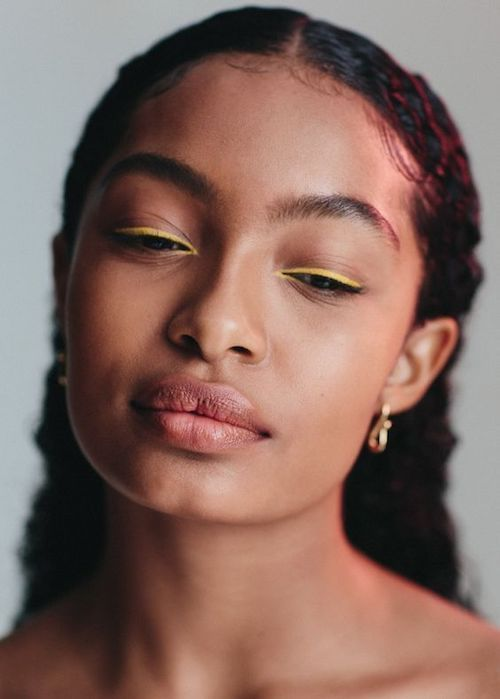 Photo of Make-up navy blue eyeliner dress pure yellow ocher