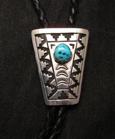 Navajo Turquoise Sterling Silver Bolo Tommy Rosita Singer