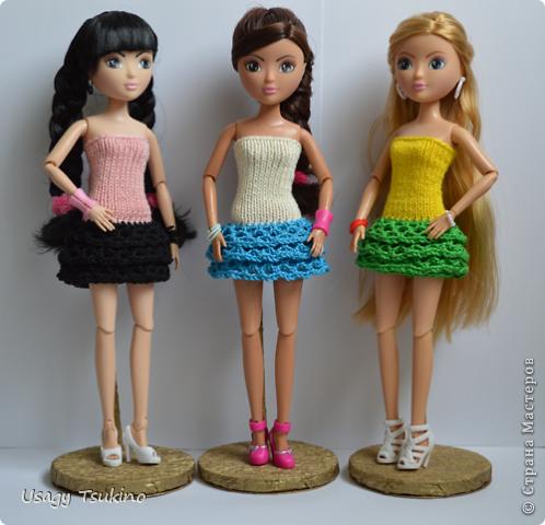 Кукольная жизнь Мастер-класс Вязание крючком Вязание спицами Дискотечное платье МК Пряжа фото 1