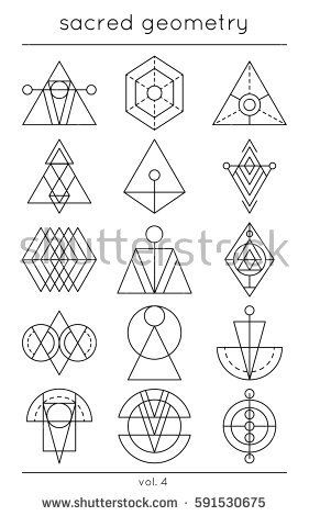 Sacred symbols. Vector cosmic decoration elements. Geometric ...
