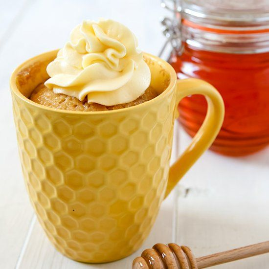 A soft, sticky and gooey mug cake made with honey, then ...
