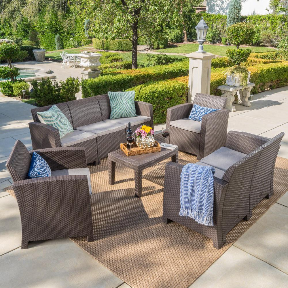 Noble House 5Piece Wicker Patio Conversation Set with