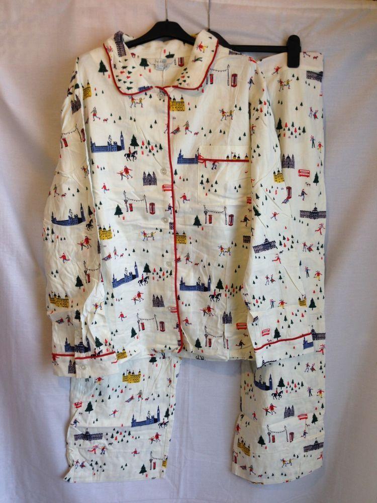 2f612f67b T0064 Boden Ivory Festive London Print Woven Pyjama Set XL Size UK ...