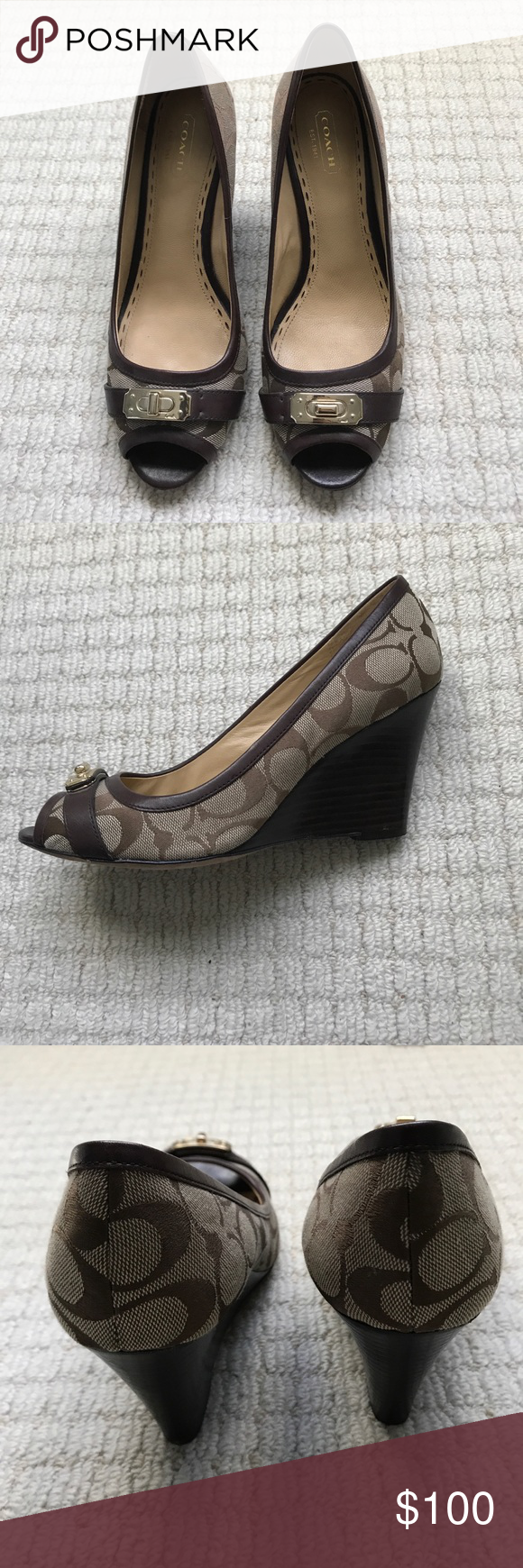 Coach wedges This shoes has been lightly worn and doesn't have any big damage. Only scratches at the bottom and light superficial one on the heel (not very noticeable). The fit it's flattering and it's very comfortable on. Coach Shoes Wedges