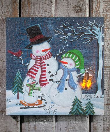 Love this Snowfamily Light-Up Canvas on #zulily! #zulilyfinds