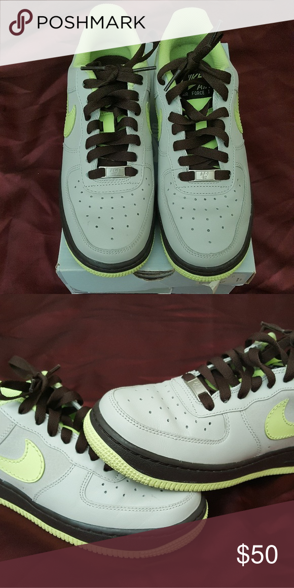 check out b0b42 3df73 Nike Air Force 1 AF1 Wmns Nike Air Force 1  07 sz 6.5, shoes have been  worn. But still have a lot of life left on them. 315115-031 Granite Lime -  Dark ...
