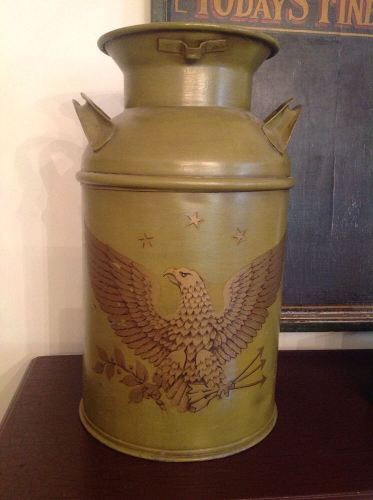 Antique Five Mandalas Of The Vajravall Sacred Circle In: VINTAGE ANTIQUE 5 GALLON GREEN PAINTED MILK CAN W/EAGLE