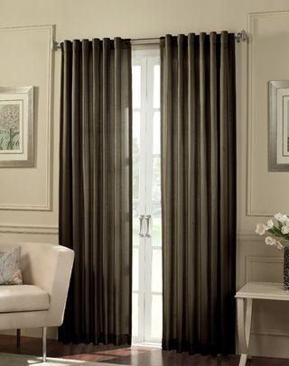 Cooper Stripe Faux Silk Wide Width Curtain Panel