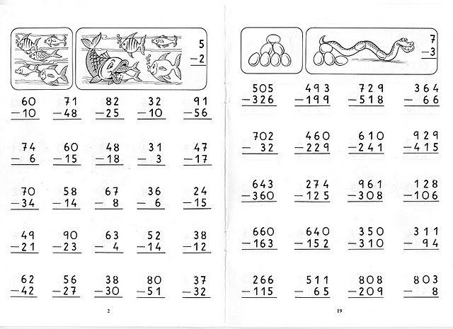 Para Que Los Peques Vayan Familiarizandose Con Las Restas Llevadas Actividades De Resta Sumas Y Restas Llevando Fichas De Matematicas