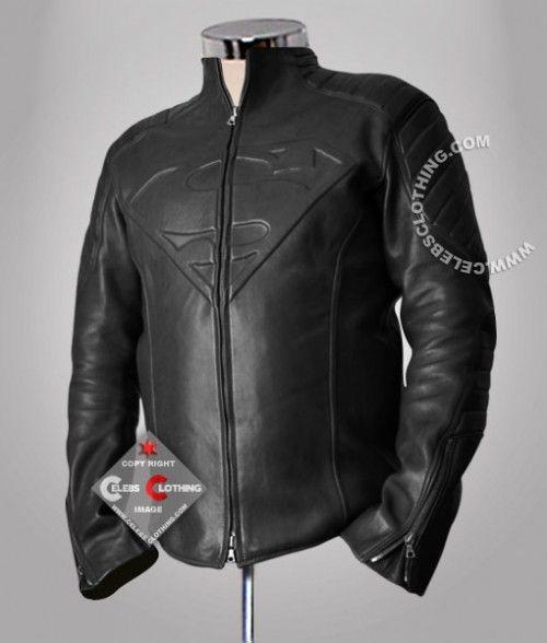 Pin On Black Superman Smallville Real Leather Jacket