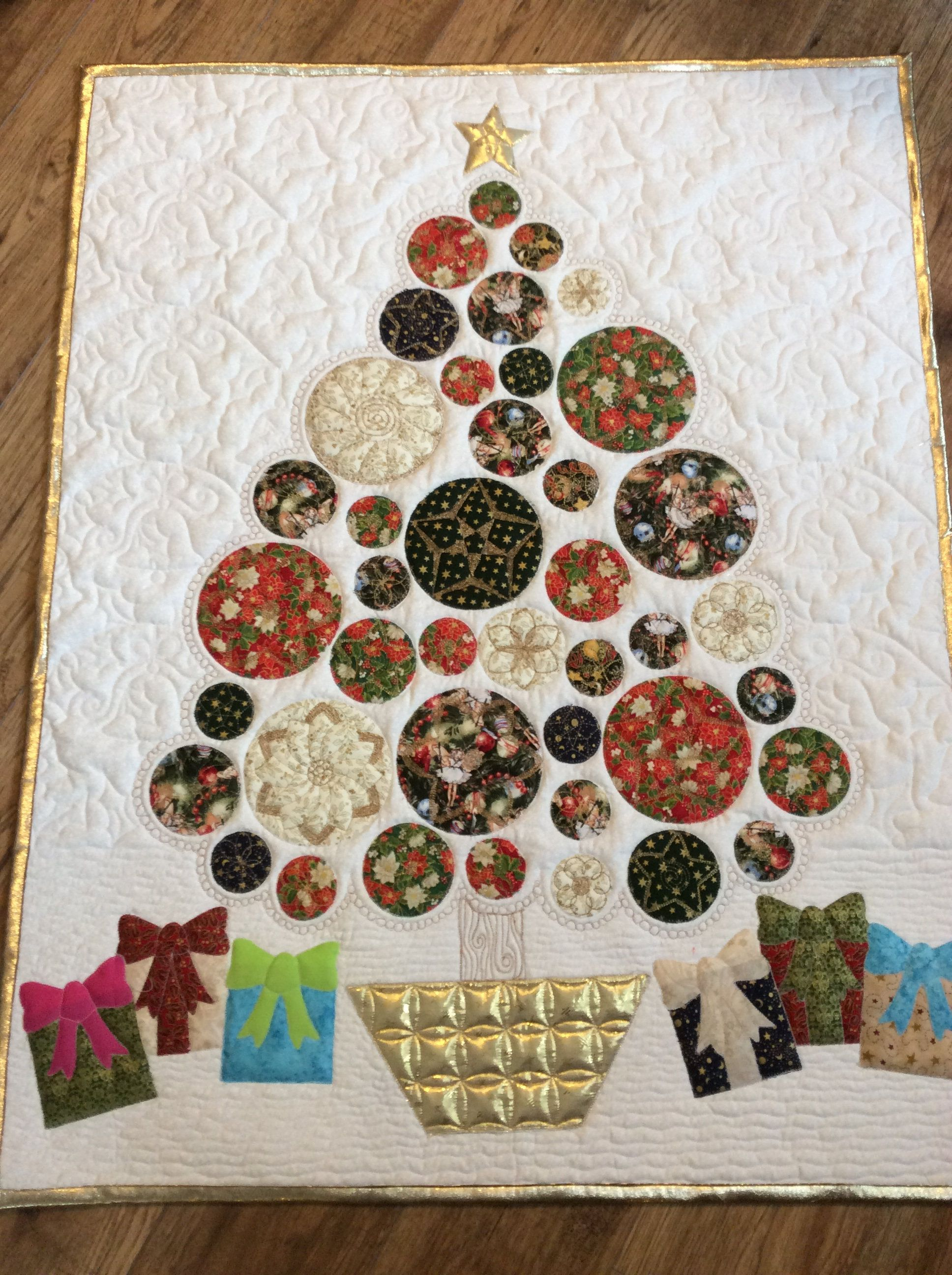 modern quilted christmas tree wall hanging xmas bells and presents table topper decorated golden modern holiday tree wall hanging by simplyquiltingbybarb
