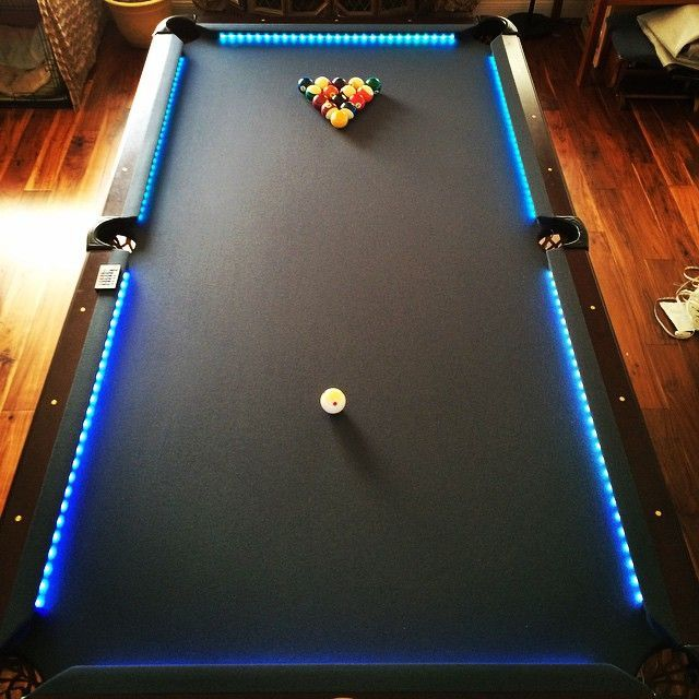 Family Living Room Design Ideas That Will Keep Everyone Happy: Put Leds On My Pool Table. #ledlighting #pooltable