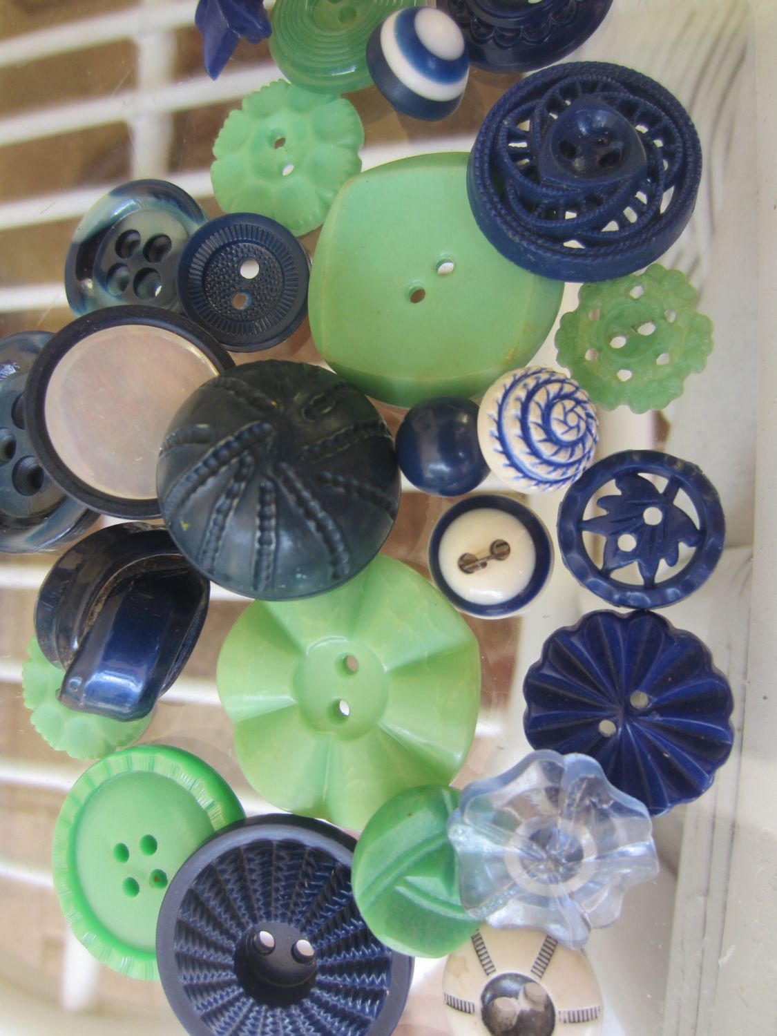 Vintage Buttons - Cottage chic mix of cadet blue, and green lot of 27, old and sweet( mar403) by pillowtalkswf on Etsy