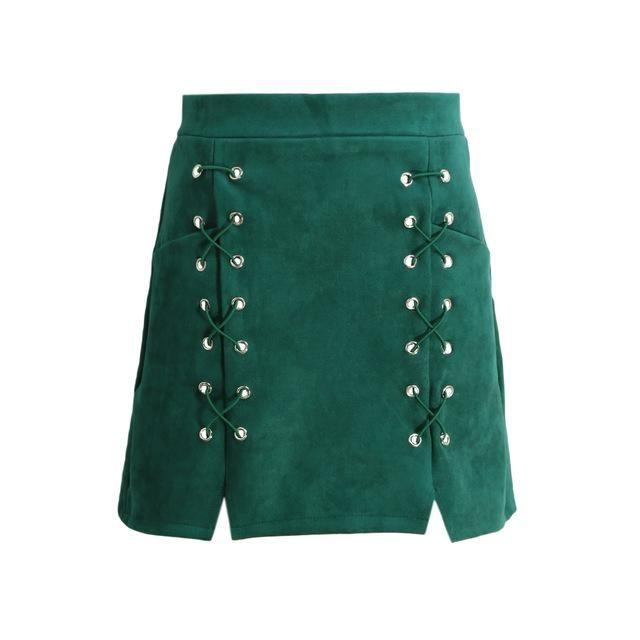 e621c32879 Autumn Women Lace Up Suede Leather Pencil Skirt High Waist Zip Back Split  Bodycon Short Saia Retro Harajuku Preppy Winter Skirt