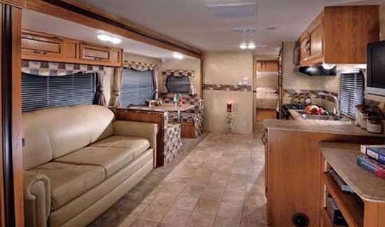 Coachmen Spirit of America travel trailer interior looking to rear ...