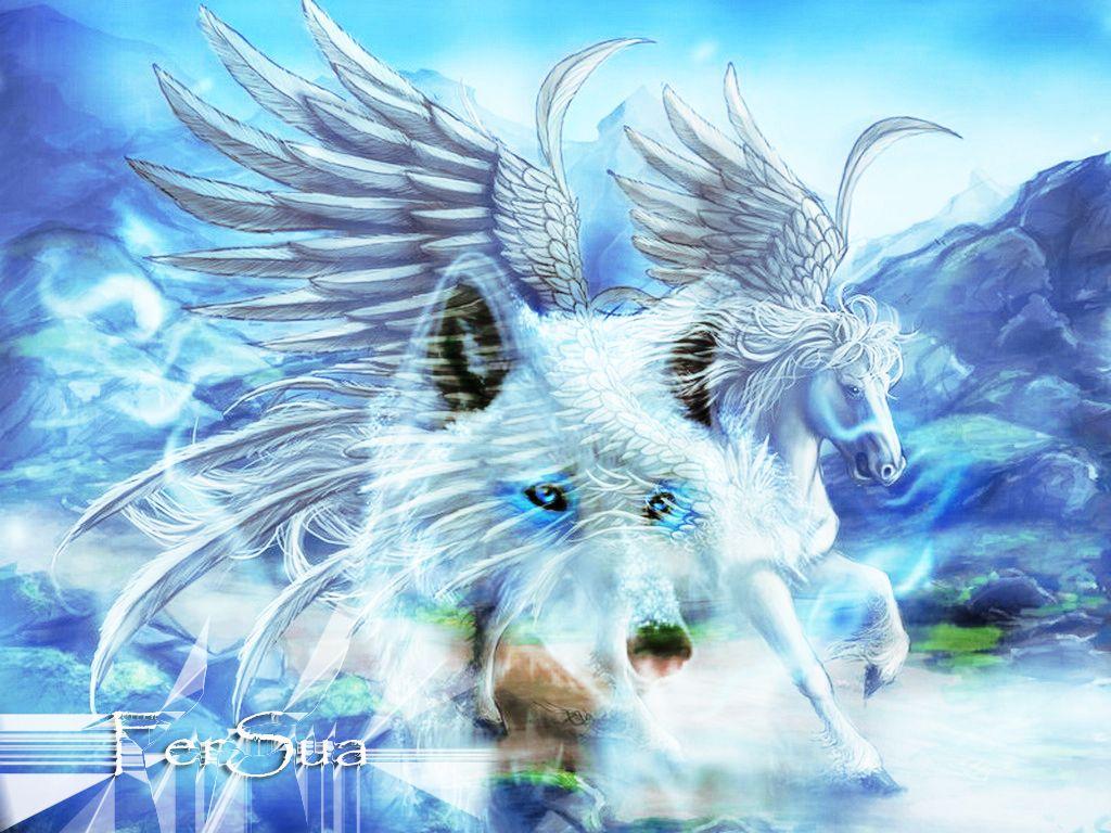 Pegasus Unicorn | Pegasus And Unicorn Within The Blue ...