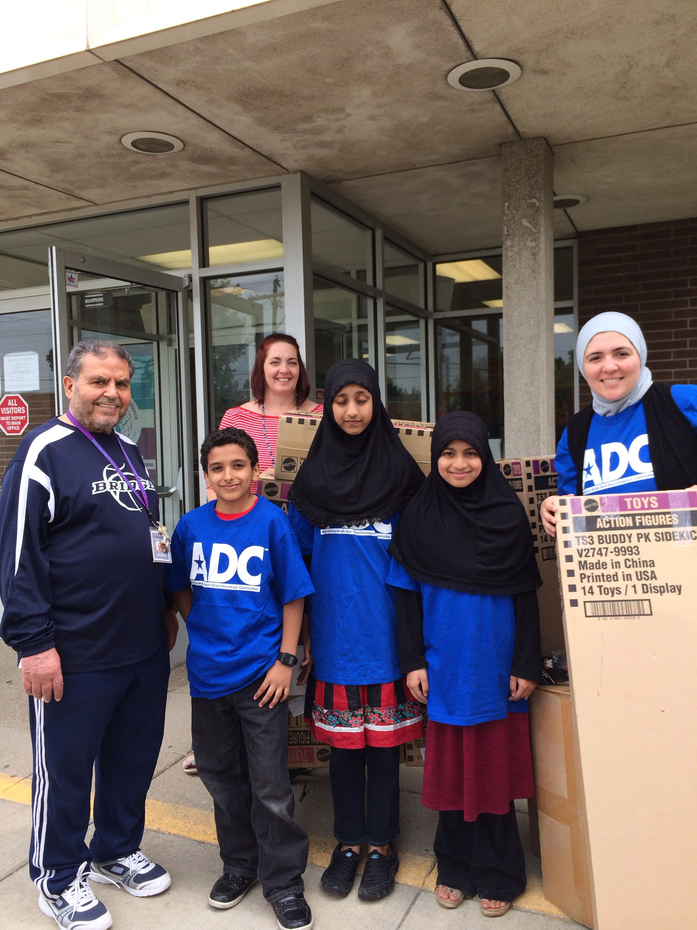 ADC-Michigan Director delivering donated toys to Hamtramck elementary school #arabamerican #publicservice #civilrights