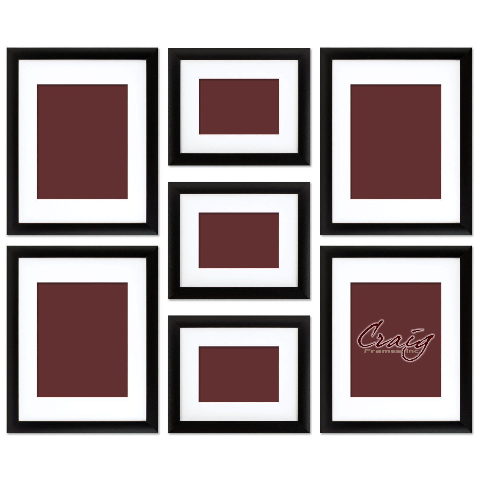 Amazon craig frames 1wb3bk picture frame 7 piece wall set craig frames picture frame wall set black frames white display mats this set of seven brand new picture frames is manufactured in the usa jeuxipadfo Images
