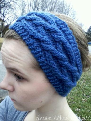 Intertwining Diamonds Cabled Headbandear Warmer Knit Pattern