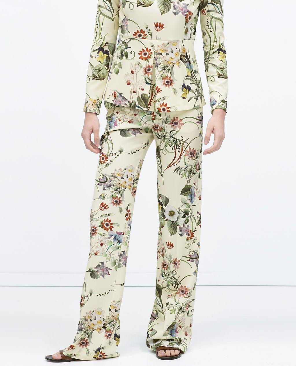 Shirokie Bryuki S Cvetochnym Printom Spring Zhenshiny Lookbook Hosen Frauen Weite Hosen Bedruckte Hosen