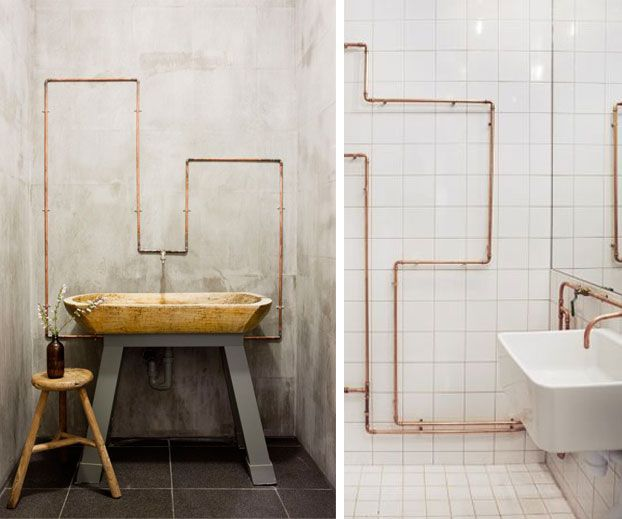 Exposed pipes RachelSquirrel home BATHROOM Pinterest