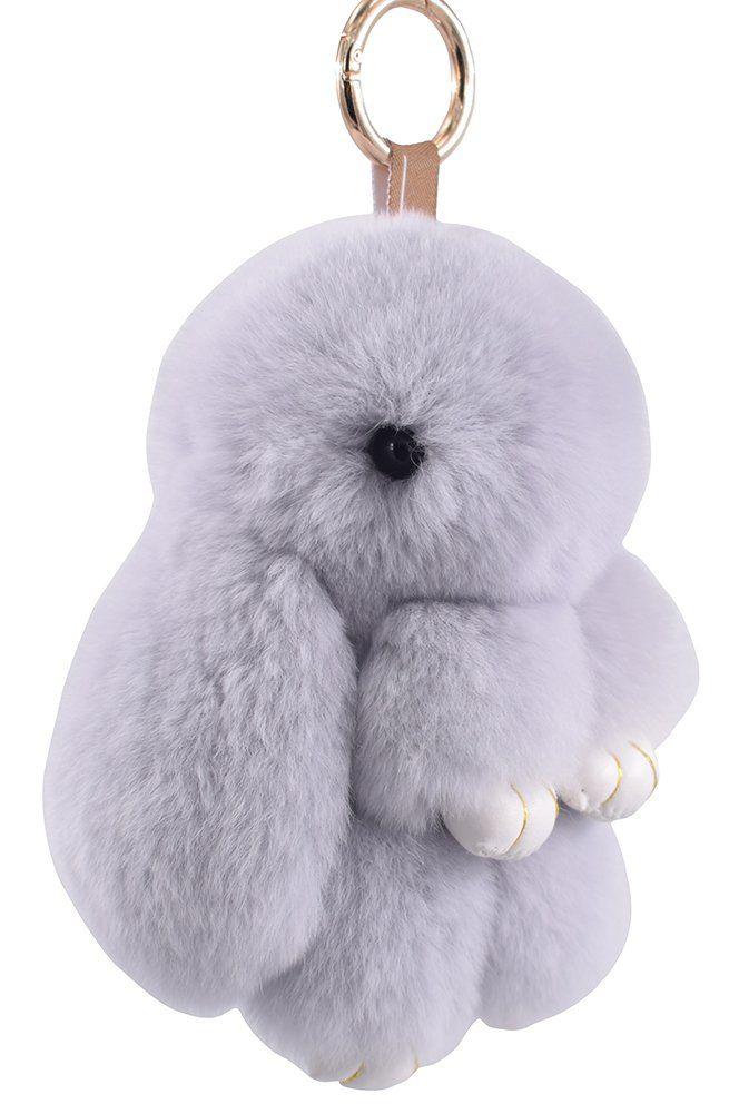 Cltoyvers Genuine Rex Rabbit Fur Fluffy Bunny Keychain Handbag Purse Bag  Charm Backpack Pendant (gray 9e616f7377bd