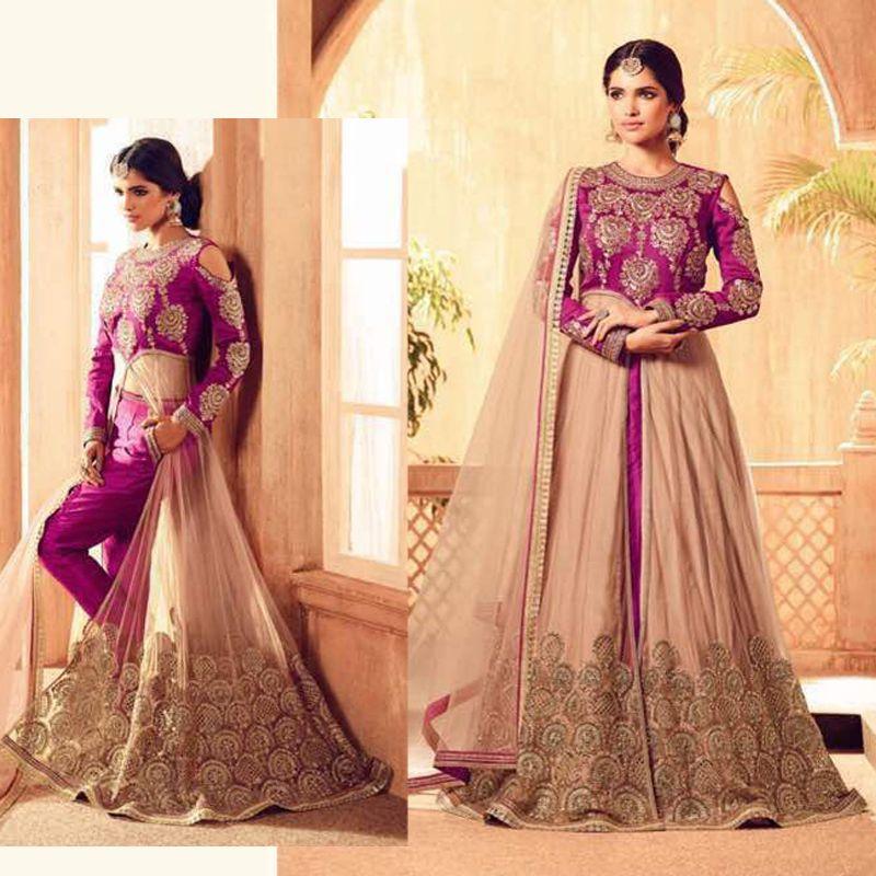Wedding Bridal Designer Front Open Anarkali Dress Indian Bollywood ...