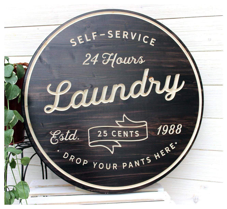 Rustic Farmhouse Laundry Room Ideas – Follow The Yellow Brick Home #laundrysigns