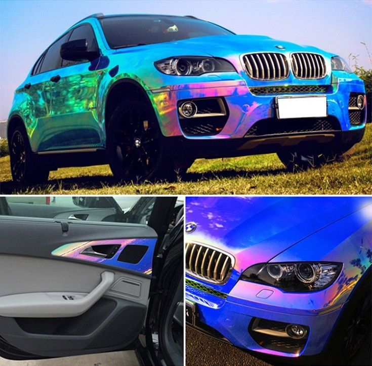 Colorful chameleon blue rainbow vinyl roll car wrap air