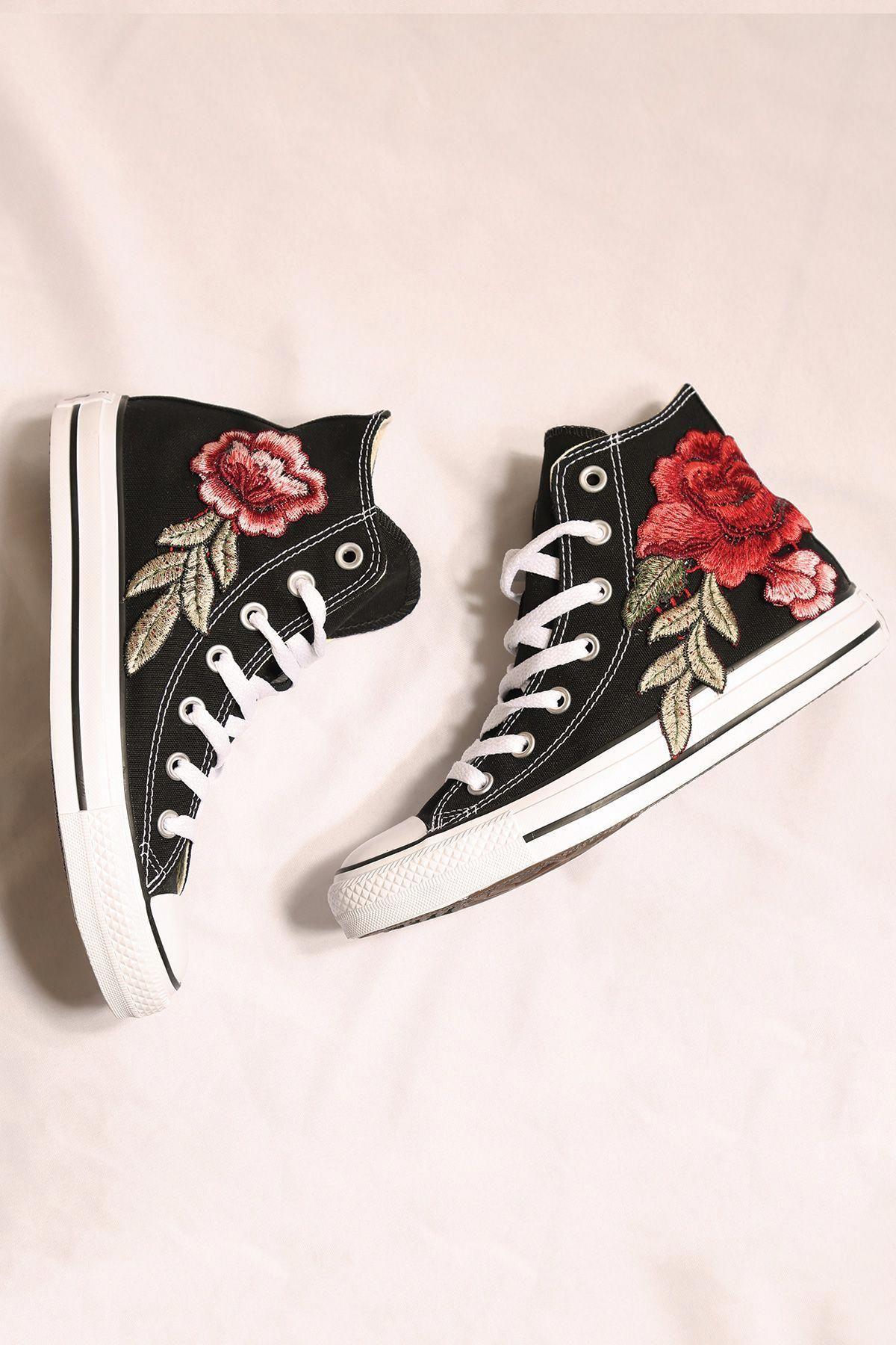 45dd0b1564fc Costom black converse rose all star high tops I size 8.5 I 80 euro   Promshoes
