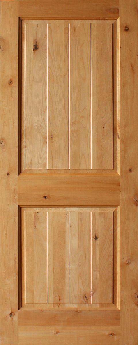 2 Panel Plank Square Top Rail Knotty Alder Doors Discount Interior Doors Double Doors Interior