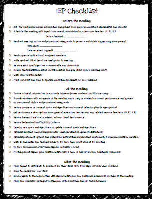 Teaching Special Thinkers: IEP Checklist FREEBIE   TpT FREE LESSONS ...
