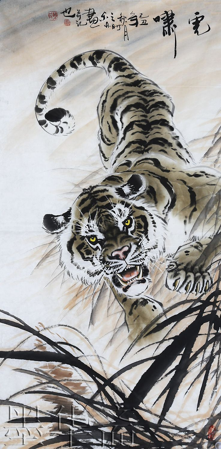 asian traditional Chinese paintings fengshui painting abstract painting art oriental decoration brush artist hand painted tiger