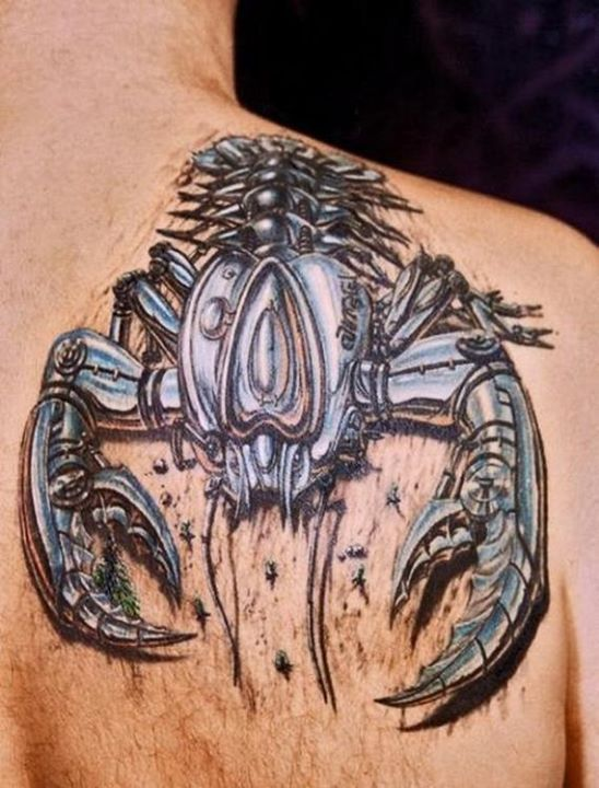 Biomechanical 3d Scorpio Tattoo On Right Back Shoulder Tribal