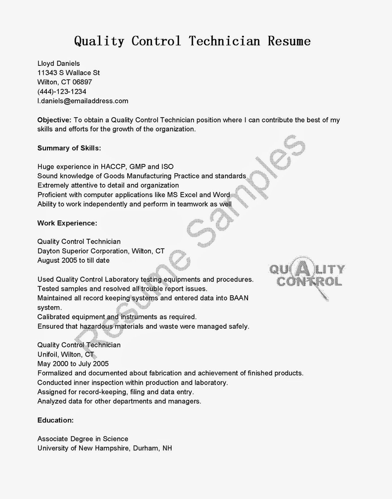 resume with cover letter example graduate quality contro… | Business ...