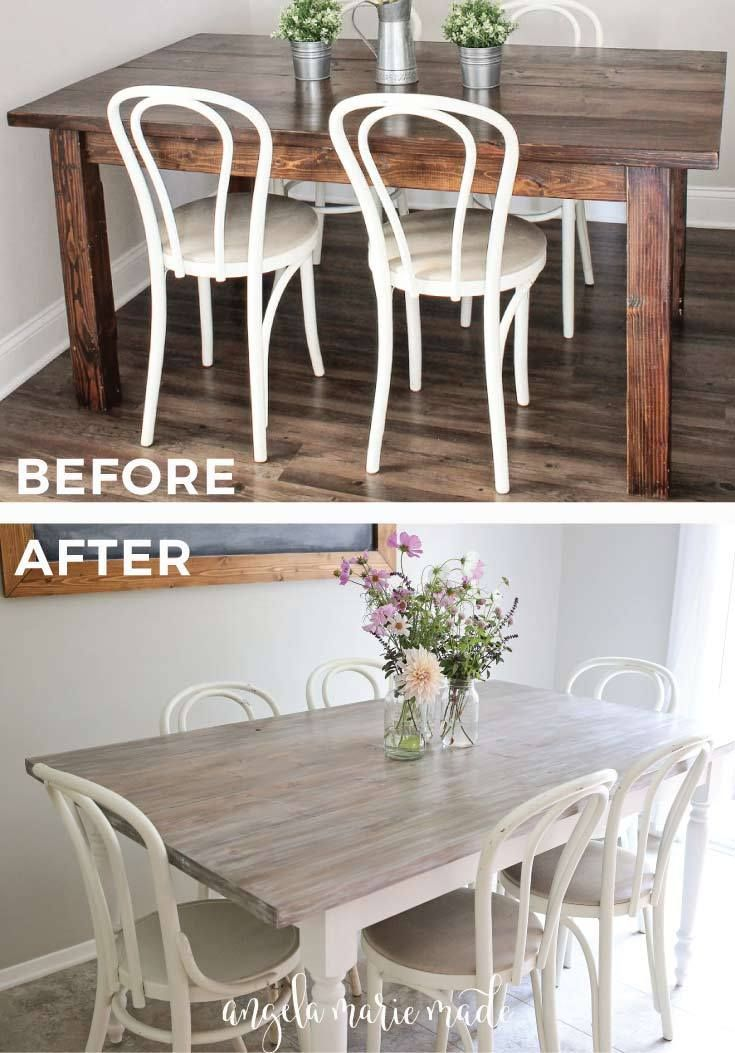 Farm Table Makeover Angela Marie Made Kitchen Table Wood