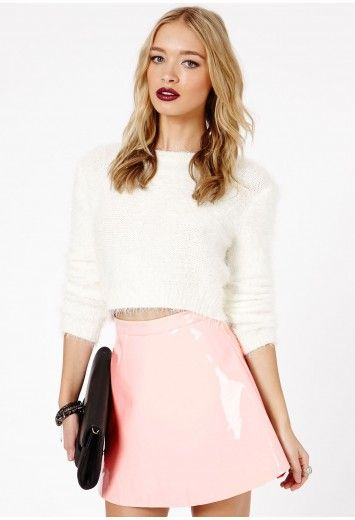 461669416c530a Missguided Milusia PVC Skater Skirt In Baby Pink | Fashion | Skirts ...