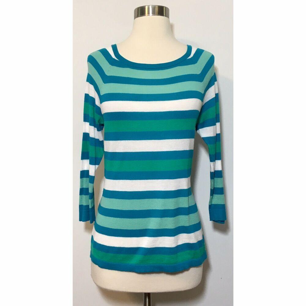 1d4222a12 Ann Taylor Loft Blue & Green Lightweight Stretch Career Sweater ...