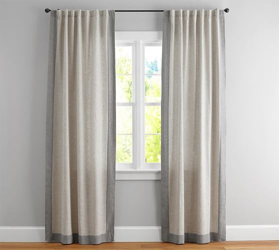 Emery Frame Border Linen Cotton Curtain Oatmeal Gray Living Room Panelling Linen Drapes Curtains
