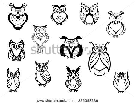 Cute Owls And Owlets Set Isolated On White Background In Cartoon