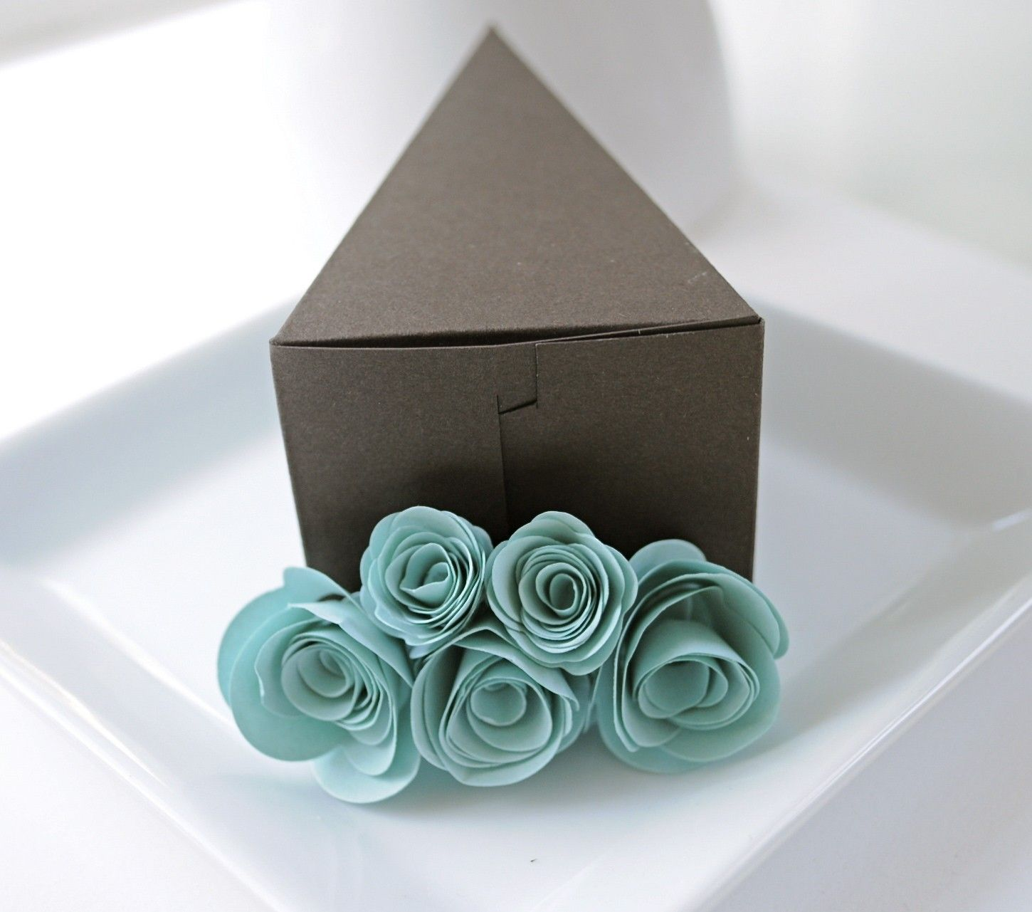 Chocolate Cake Slice Favor Box With Blue Flowers 1 Wedding Bo