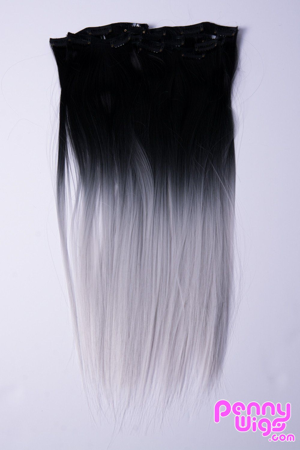 Ombr Black Silver Dip Dyed 7pcs Straight Clip In Hair Extensions