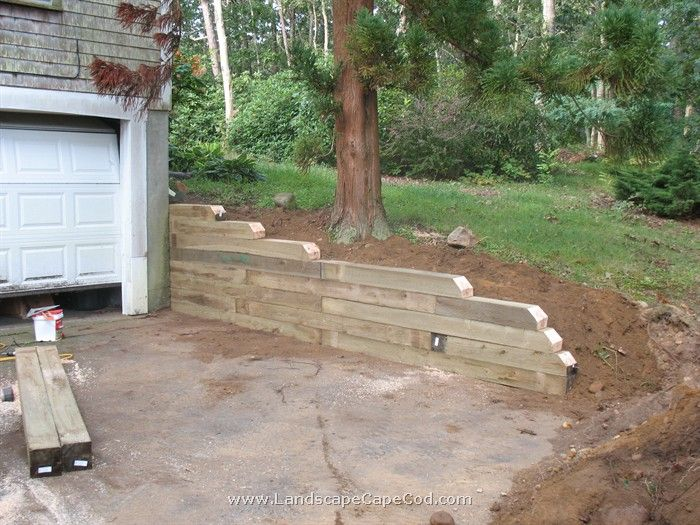 how to build a small retaining wall with landscape timbers