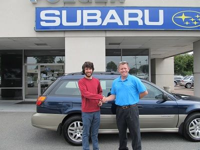 Folger Subaru Internet Sales Consultant Ned Howie With Mr Royal And His 2004 Subaru Outback Wagon Subaru Used Subaru Subaru Outback