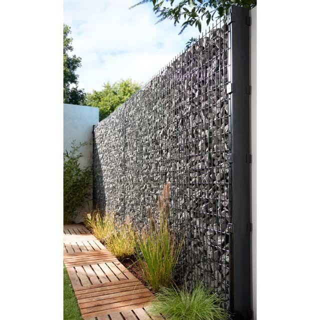 Beautiful panneau gabion gris x h m castorama with cache for Cache balcon castorama