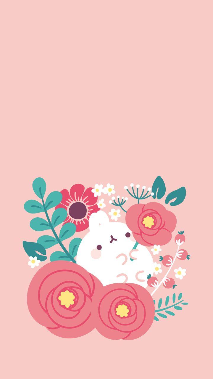 Molang spring flowers wallpaper  Wallpaper  Pinterest  Spring