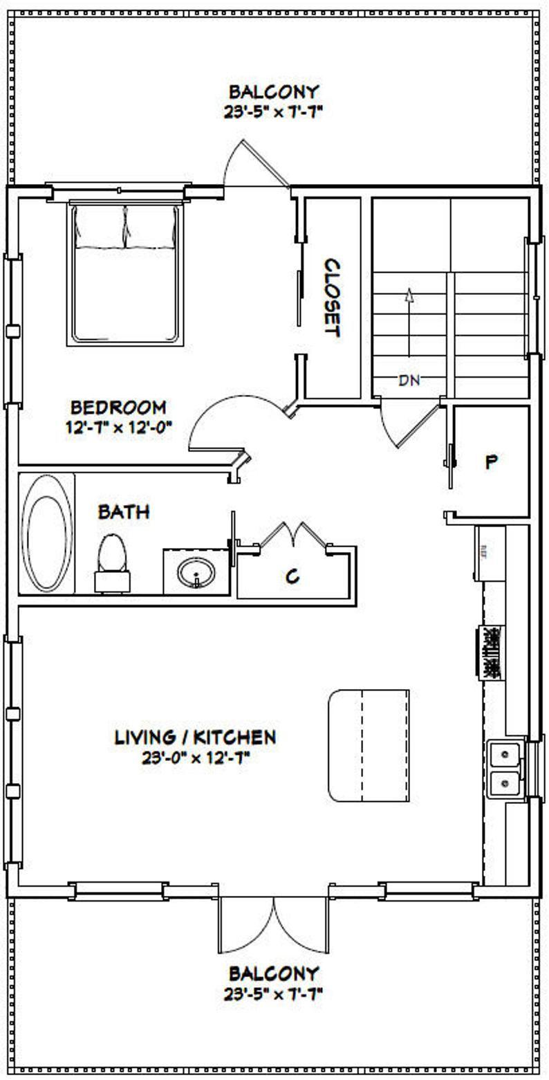 24x32 House 1 Bedroom 1.5 Bath 830 sq ft PDF